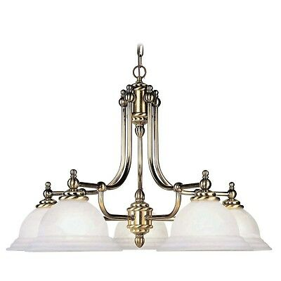 Livex Lighting 5-Light Antique Brass Chandelier with White Alabaster Glass Shade Brass Alabaster White Glass