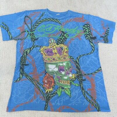 ED HARDY Basic Tee T-shirt Blue Green Skull Ropes Men's XL