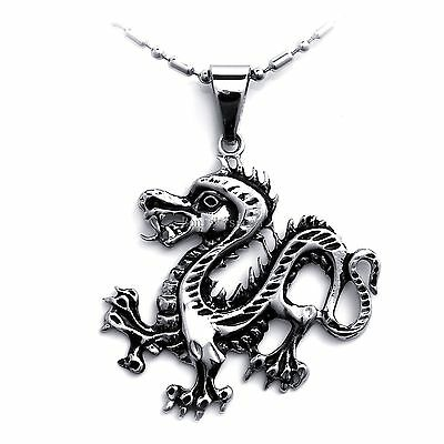 Halloween Gifts For Men (Tribal Biker Stainless Steel Dragon Pendant Necklace for Men Halloween)