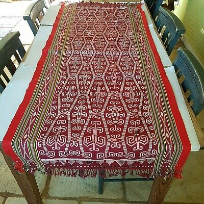 Vintage Indonesian Sarawak Narrow Pua Textile Kain Kebat Ikat Dyed Fringe C20th