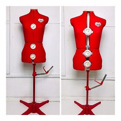 Singer Vintage Model 150 12 Dial Seamstress Adjustable Dress Form Mannequin Red