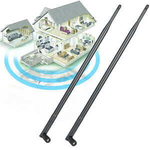 2x 9dBi RP-SMA Dual Band 2.4GHz 5GHz High Gain WiFi Router Wireless Tilt Antenna