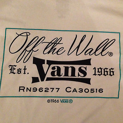 VANS Original White Double Sided off the wall Est. 1966 Graphic L Tee Shirt BNWT Double Wall Tee