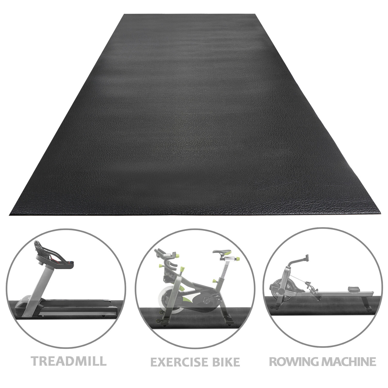 8 x 3FT Exercise Mat Gym Bike Treadmill Mat PVC Indoor Yoga