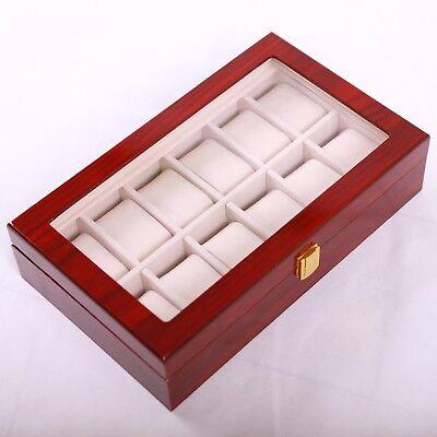 Uhrenkoffer Uhrenbox 12er Schaukasten Uhrenkasten Uhrenvitrine Wood Watch Holz
