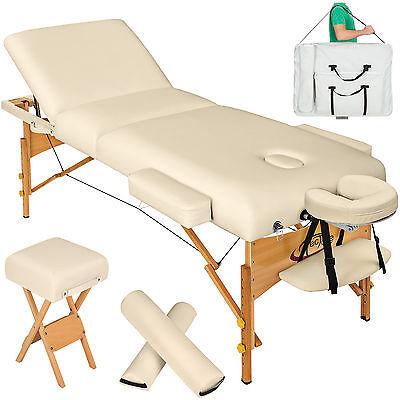 Massagetisch Massageliege Massagebank + 2 Lagerungsrollen +Hocker+Tasche beige N