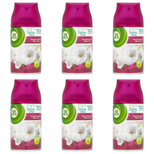 6 X AIR WICK FRESHMATIC AUTOMATIC SPRAY REFILLS SMOOTH SATIN AND MOON LILY