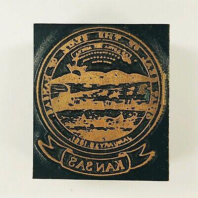 Vintage Wood Copper Metal Kansas Printers Block Printing Letterpress Stamp
