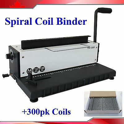 All Steel Metal Spiral Coil 34holes Punching Binding Machine 300 Sheets Coils