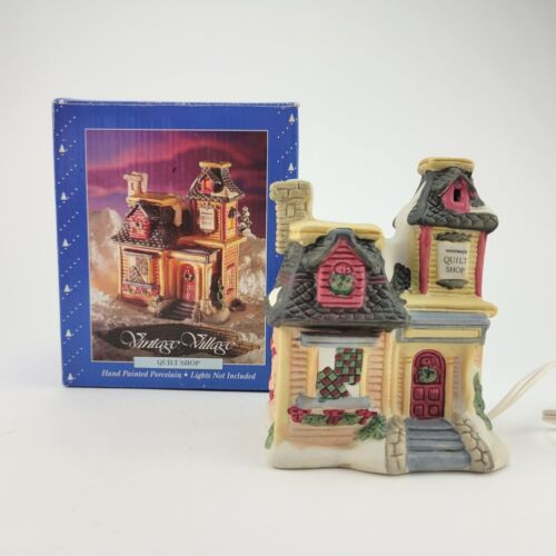 Holiday Time Vintage Christmas Village Quilt Shop Store Building with Box