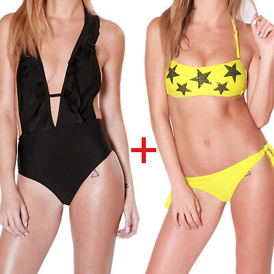 2 Costumi Donna Bikini Fascia + Monokini Due Pezzi + Intero Mare Piscina Estate