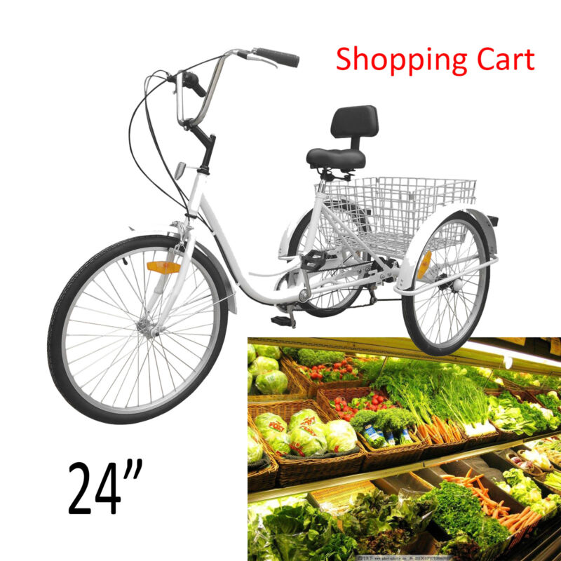 "Unisex Adult 24"" 3-Wheel 7-Speed Tricycle Trike Bicycle Bike Cruise Basket White"