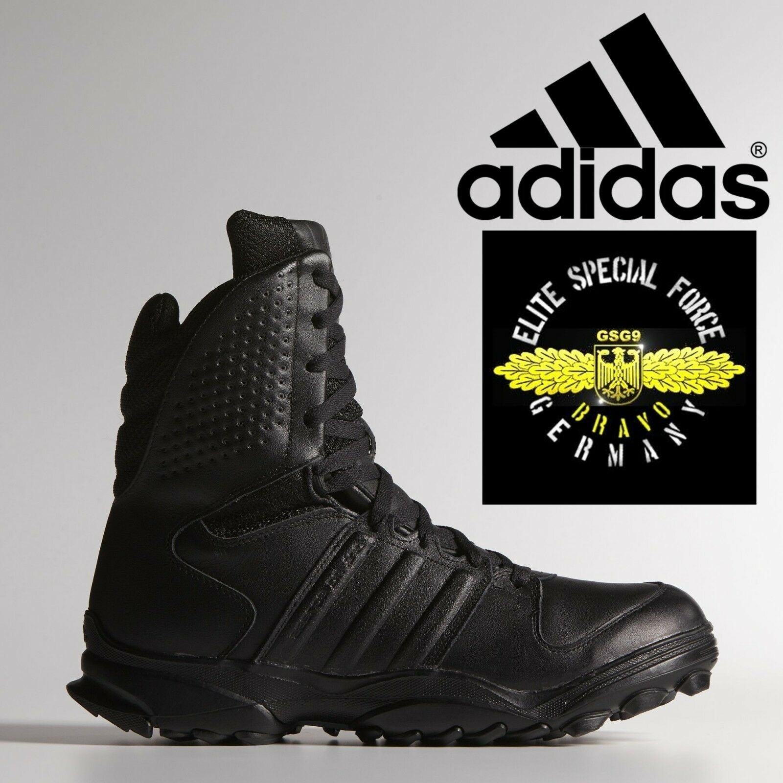 38474fc2ff7 Details about adidas GSG 9.2 Combat Boots Military SWAT German Police Shoes  Black Leather