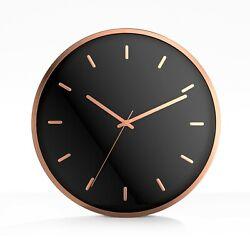 Driini Modern Rose Gold Analog Wall Clock - Aluminum Frame Silent Sweep Movement