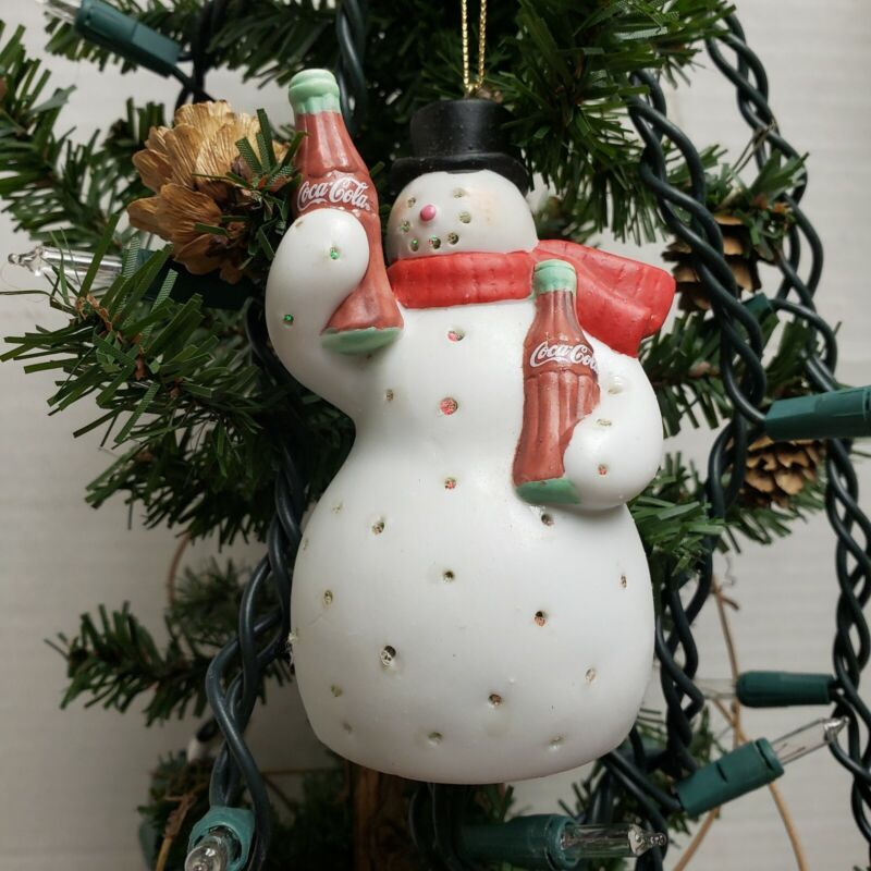 Coca Cola Brand Snowman Fiber Optic multi Glo illuminated Ornaments Limited