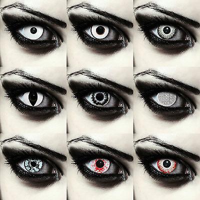 Weiße farbige Zombie Kontaktlinsen gruselige Farblinsen für Halloween Kostüm