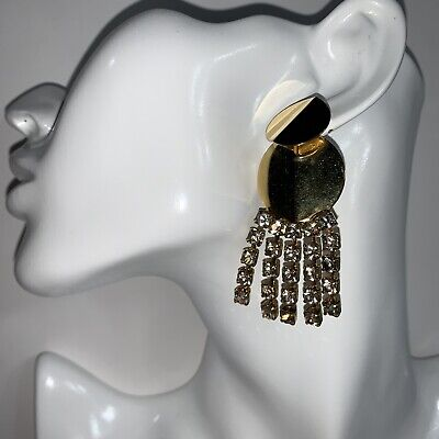 NWT authentic LIZZIE FORTUNATO gold tone metal + GRIPOIX earrings PIERCED