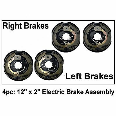 "4pc Electric Trailer Brake 12"" x 2"" Assembly Right & Left SIde 6000 7000 Axle"