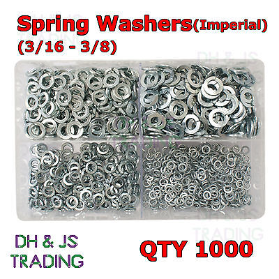 Assorted Box of Spring Washers Imperial 3/16 1/4 5/16 3/8 Rect Sect BZP Qty 1000