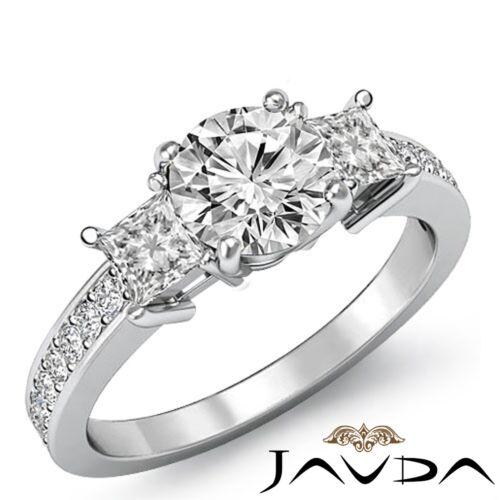 Three Stone Round Diamond Engagement Elegant Ring GIA F SI1 14k White Gold 1.8ct