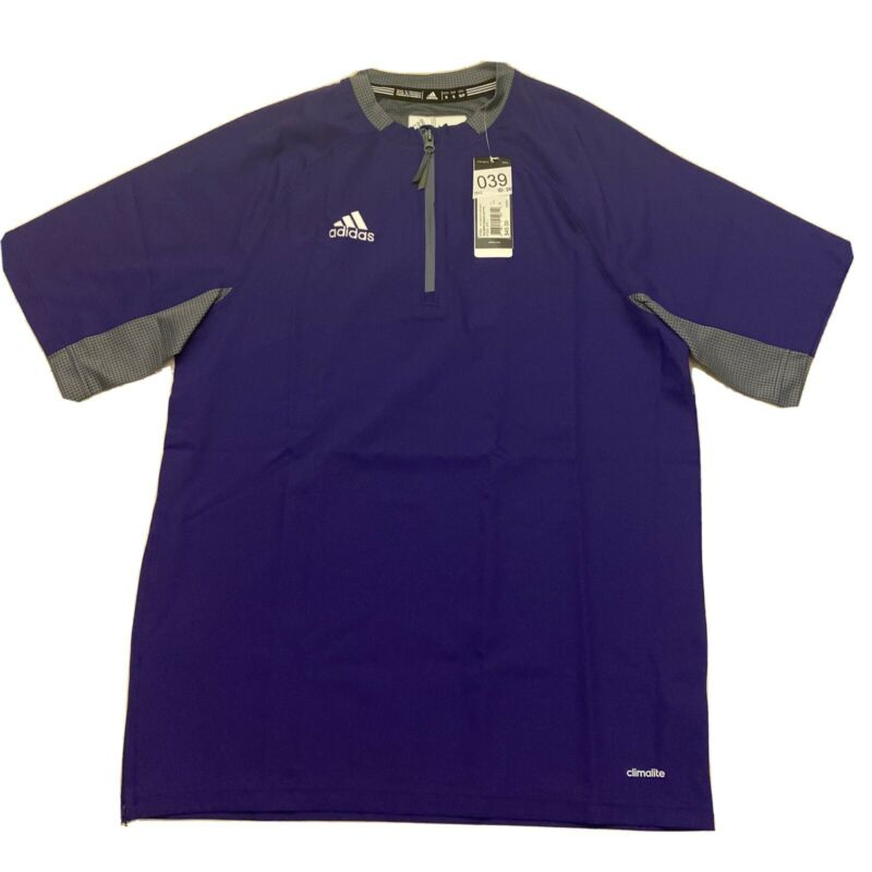 Adidas Mens Climalite Fielders Choice SS 1/4 Zip Batting Jacket Purple Gray Sz S