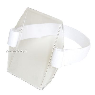 Armband Photo Id Badge Holder Vertical With Elastic White Adjustable Strap Band