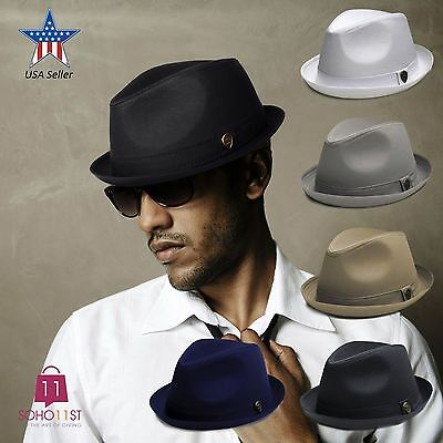 Fedora Hat Cotton Roll-Up Band Trilby Cuban Caps Black White Grey Khaki – PMT111 (White Fedoras)