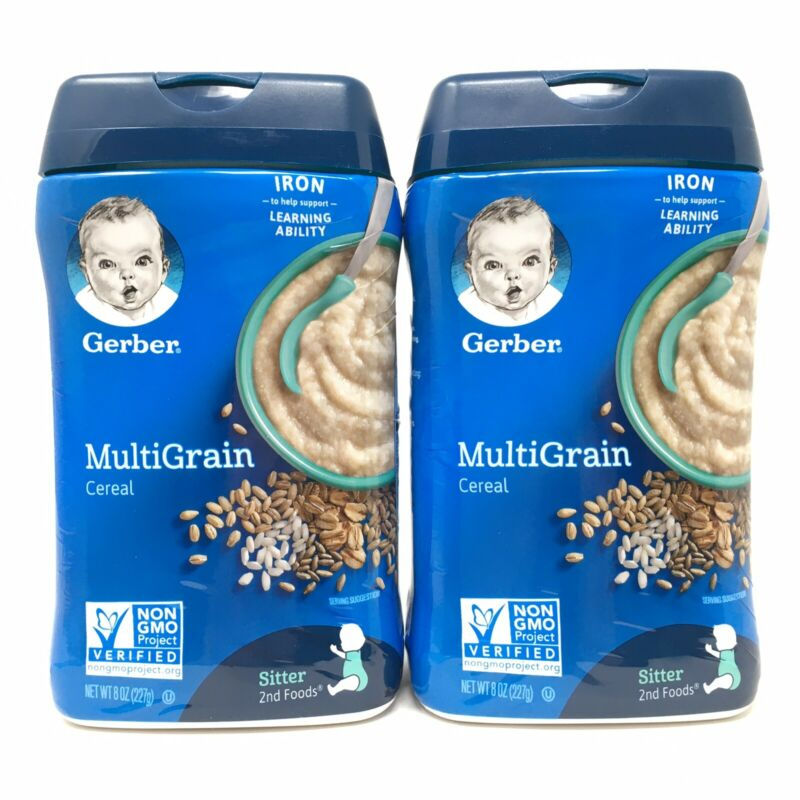 2 Gerber MultiGrain Baby Cereal 8oz NonGMO BRAND NEW Sitter 2nd Foods Exp 4/21