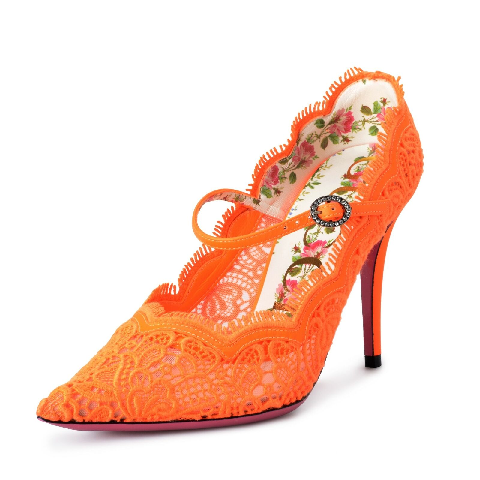 "Gucci ""Virginia"" Women's Orange Corded Lace Mary Jane High Heels Pumps Shoes"