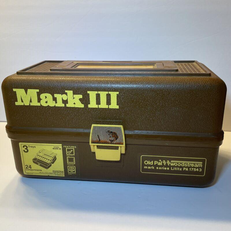 Vintage 1975 Old Pal Wood Stream Mark III Brown Bass Fishing Tackle Box 3 Trays