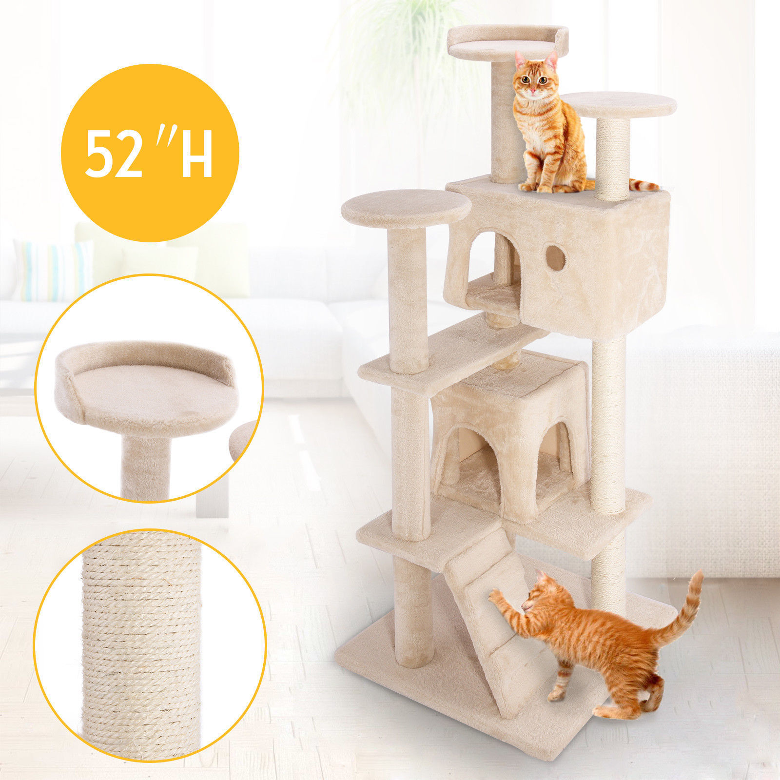 """52"""" Pet Cat Tree Tower Condo Furniture Scratching Post Toy Kitty Bed Play House"""