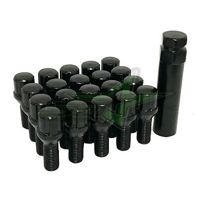 20 Black JEEP Spline Lug Bolts 12x1.25 + Security Key Renegade Cherokee Compass