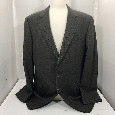 Burberry London 44L Dark Multicolor Houndstooth Wool Blazer
