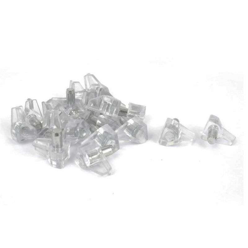 """100 Pcs 5mm (3/16"""") Clear Plastic Shelf Support Pin Peg for Cabinet Book Shelves"""
