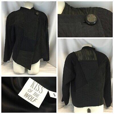 Kiss of the Wolf Jacket Blazer Small Women Blue Cotton Poly 1-button YGI L9-64