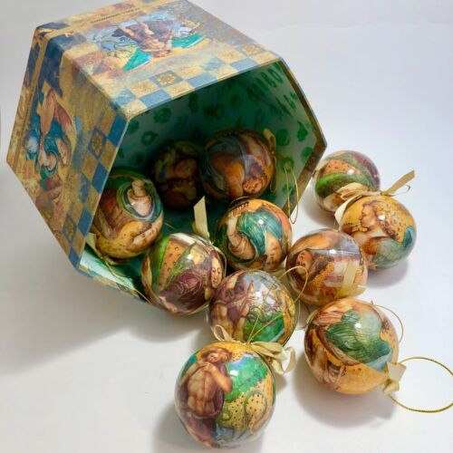 Victorian Style Decopage Angel Ball Ornaments Set of 12