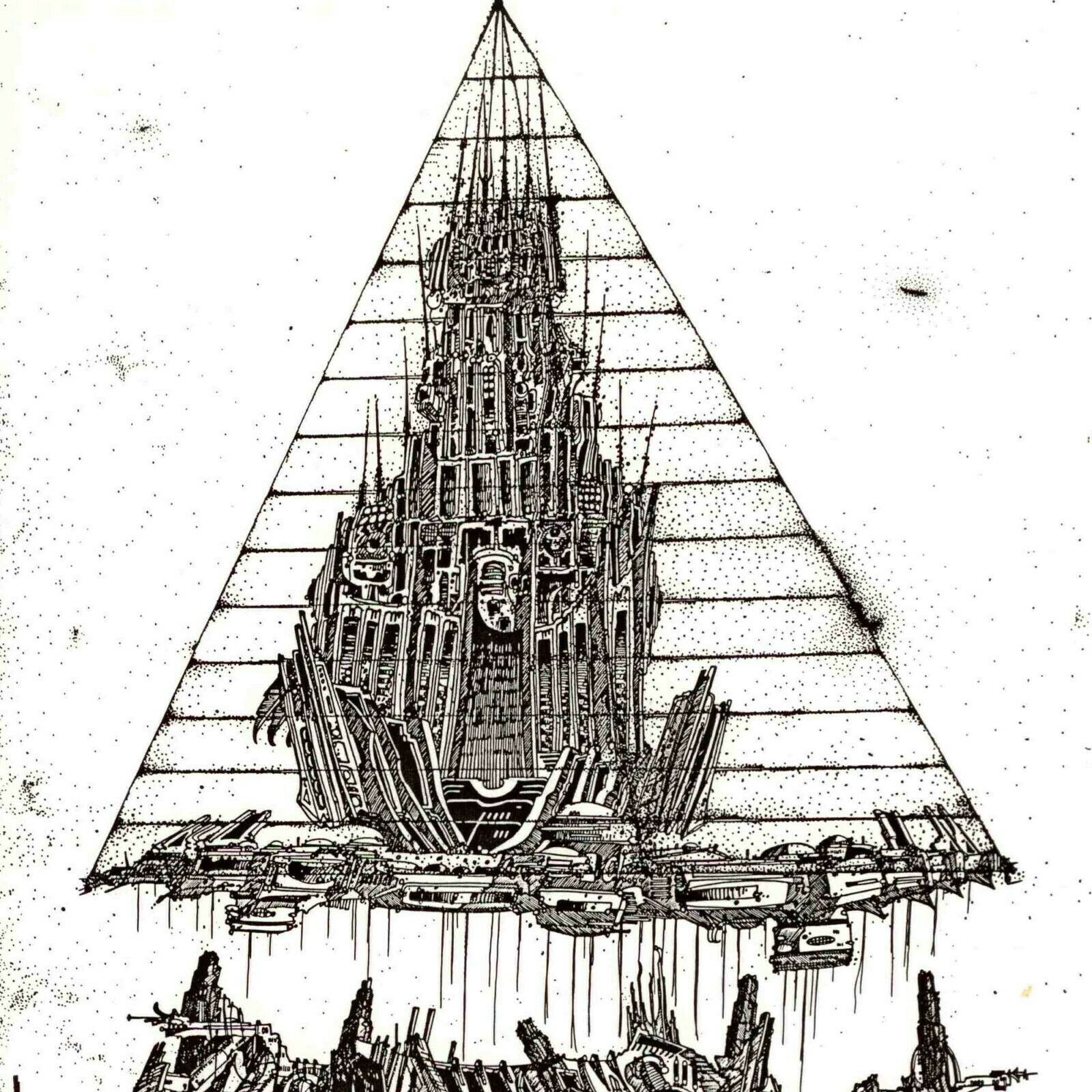 Christopher Beau Relocating City With Flying Beings 1986 Original Pen & Ink dwg, (15000000 USD)