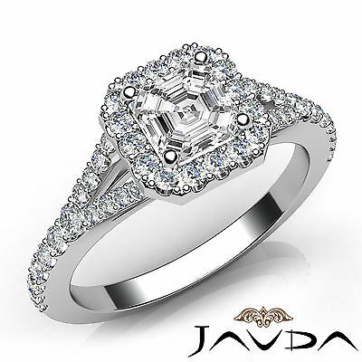 Halo Split Shank Asscher Diamond Engagement White Gold Ring GIA F Color VS1 1Ct