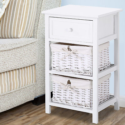 Retro Fair-skinned Wood Shabby Chic Nightstand End Bedside Table with Wicker Baskets