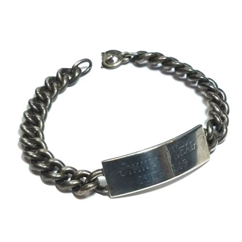 Vintage WWII Heavy Sterling Silver ID Bracelet Curb Chain U.S. Military 35 Grams