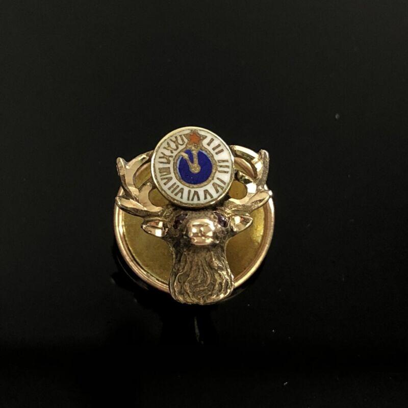 """Vtg Gold Elks BPOE 14k Gold Ruby Eye Lapel Pin 1/2"""""""