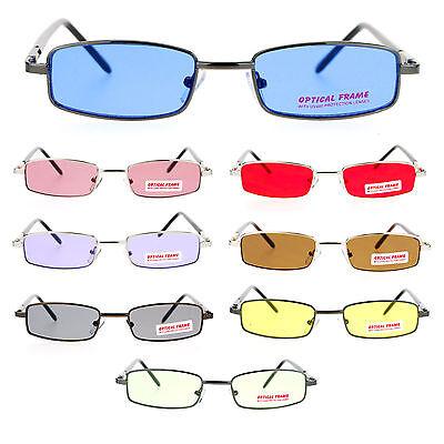 SA106 Snug Fit Small Mens Rectangular Metal Rim Classic Color Lens (Small Mens Sunglasses)