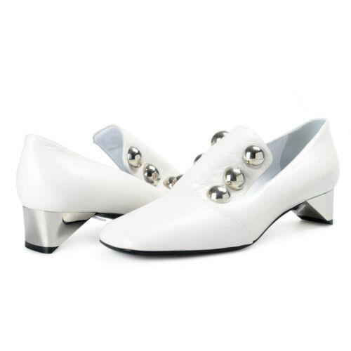 Burberry London Womens AMBRIDGE White Leather Heeled Pumps Shoes sz 7 8 95