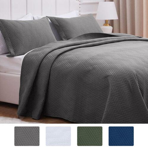 3pcs Embossed Soft Bedspread Quilt Coverlet Bed Set Reversib