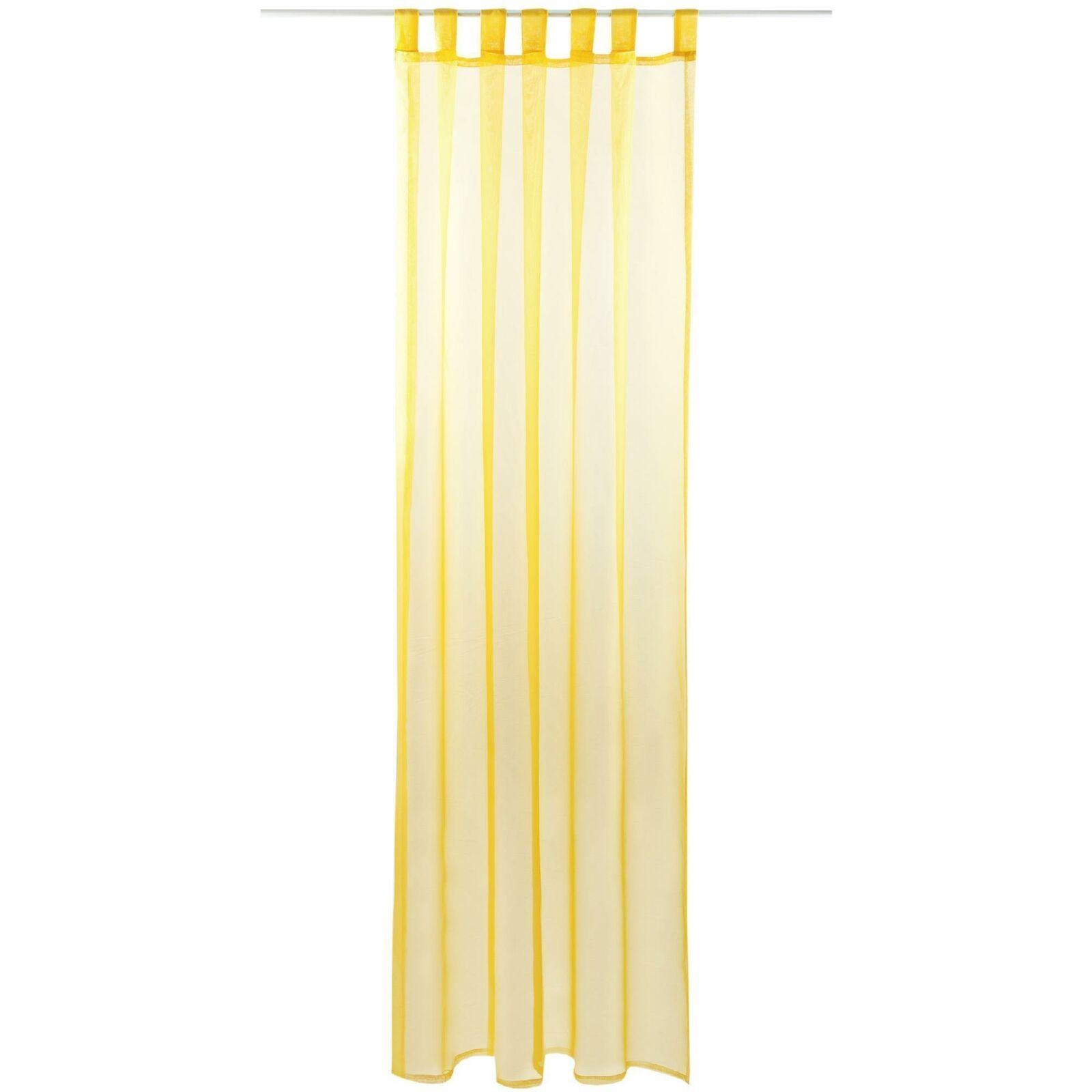 Schlaufenschal Vorhang mit Schlaufen Transparent Voile Uni Gardine große Auswahl gelb - lemongelb