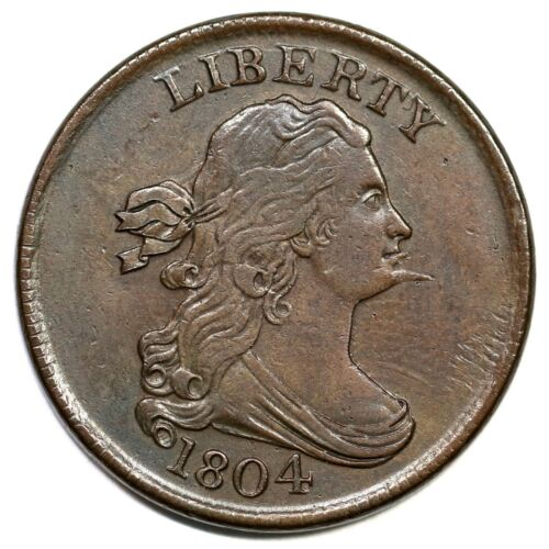 1804 C-7 R-4 Spiked Chin Draped Bust Half Cent Coin 1/2c