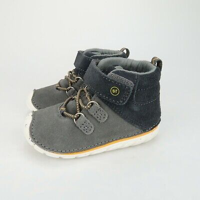 Stride Rite Boys Soft Motion Oliver Ankle Boots Grey Suede Size 5 Wide Toddler