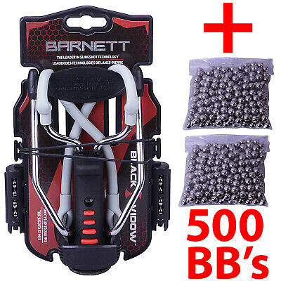Barnett BLACK WIDOW Powerful Hunting Slingshot Catapult + 500 x 6.35mm BB Ammo