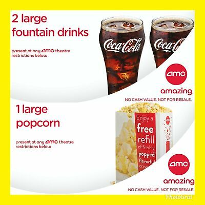 Instant E-Delivery: AMC Theater 2 Large Drinks & 1 Large Popcorn   Exp 12/31/20