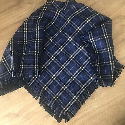 Burberry Blue Nova Check Wool Poncho
